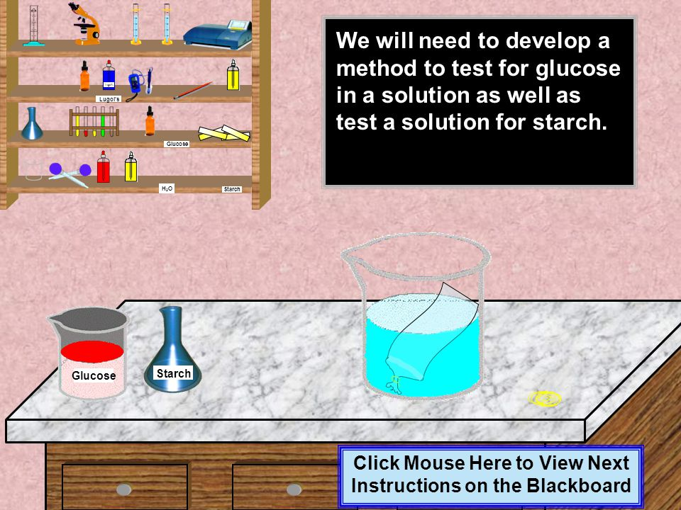 Click Mouse Here to View Next Instructions on the Blackboard While we let the dialysis tubing soak, we can access the glucose and starch solutions. Br