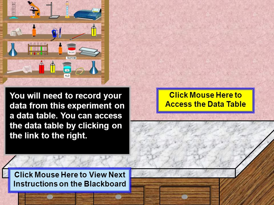 Click Mouse Here to View Next Text on the Blackboard When you are finished with PART 1 of experiment # 3, be sure that you include the following with