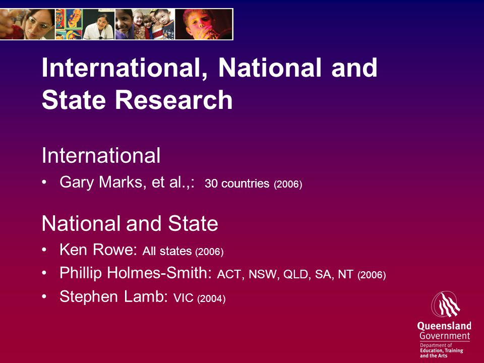 International, National and State Research International Gary Marks, et al.,: 30 countries (2006) National and State Ken Rowe: All states (2006) Phillip Holmes-Smith: ACT, NSW, QLD, SA, NT (2006) Stephen Lamb: VIC (2004)