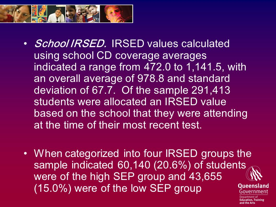 School IRSED. IRSED values calculated using school CD coverage averages indicated a range from 472.0 to 1,141.5, with an overall average of 978.8 and