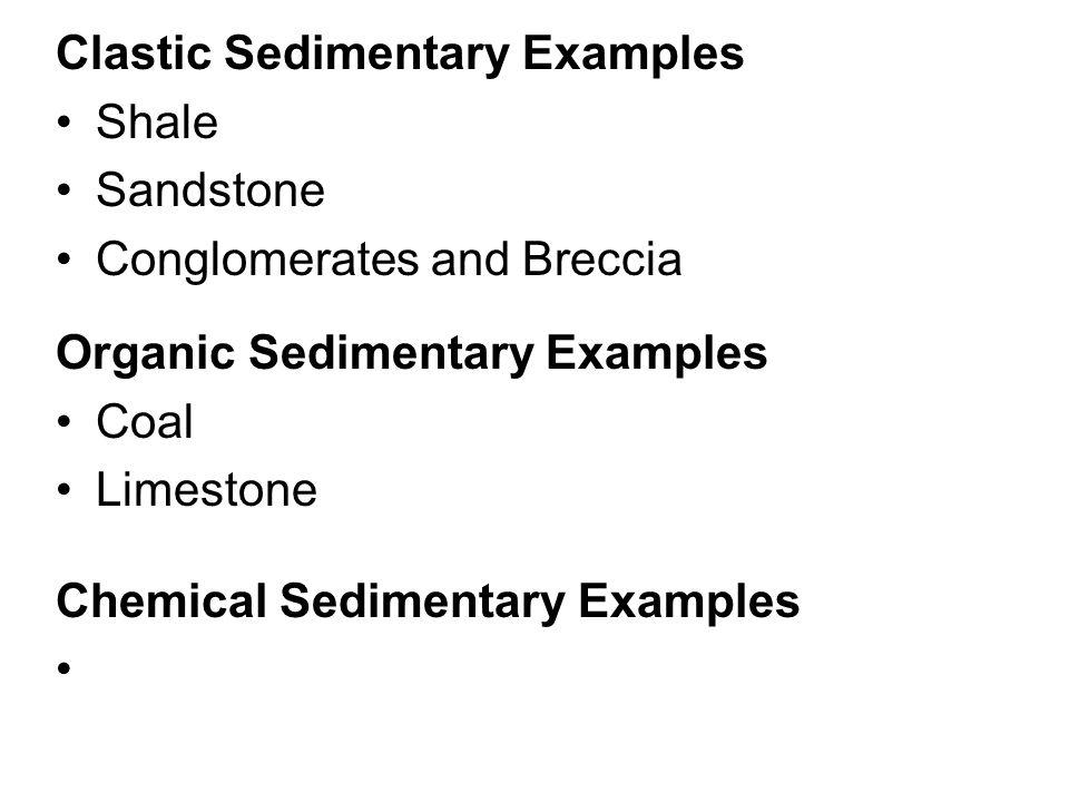 Clastic Sedimentary Examples Shale Sandstone Conglomerates and Breccia Organic Sedimentary Examples Coal Limestone Chemical Sedimentary Examples