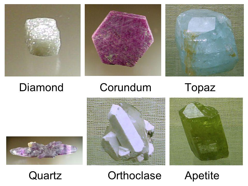 Diamond Corundum Topaz Quartz Orthoclase Apetite