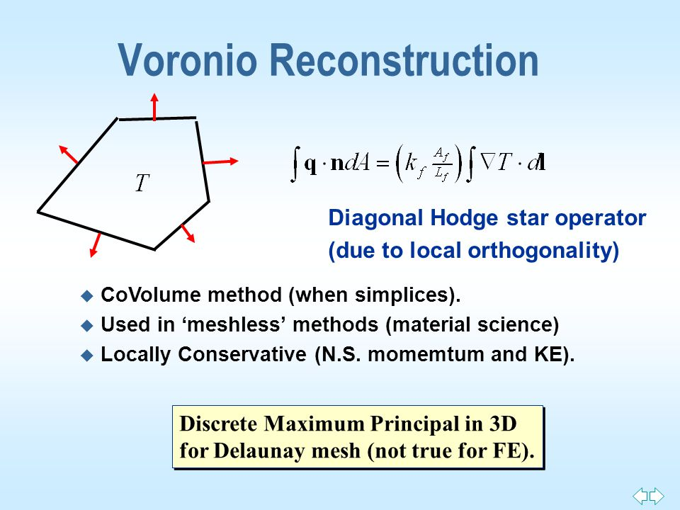 Voronio Reconstruction u CoVolume method (when simplices).