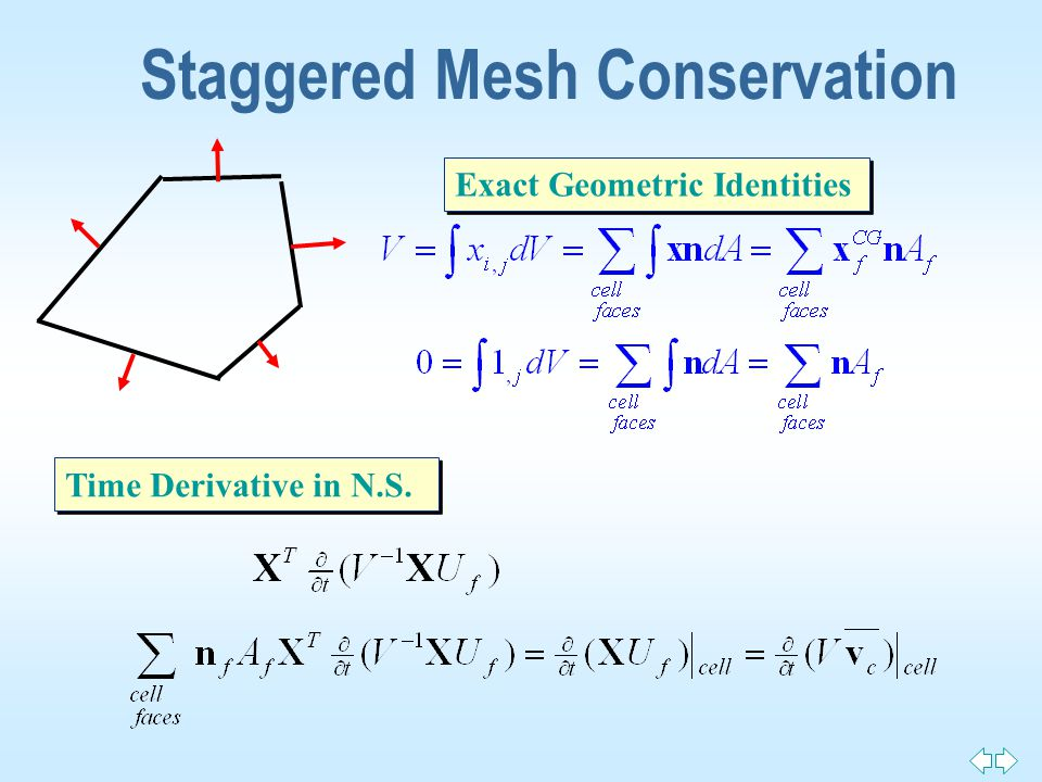 Staggered Mesh Conservation Exact Geometric Identities Time Derivative in N.S.