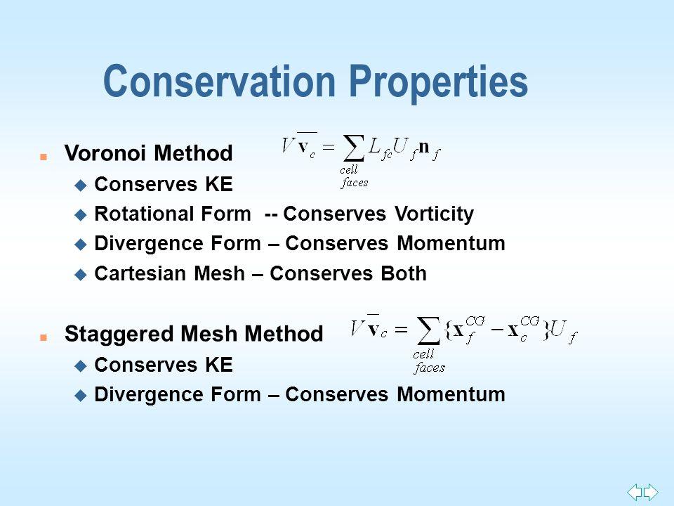 Conservation Properties n Voronoi Method u Conserves KE u Rotational Form -- Conserves Vorticity u Divergence Form – Conserves Momentum u Cartesian Me