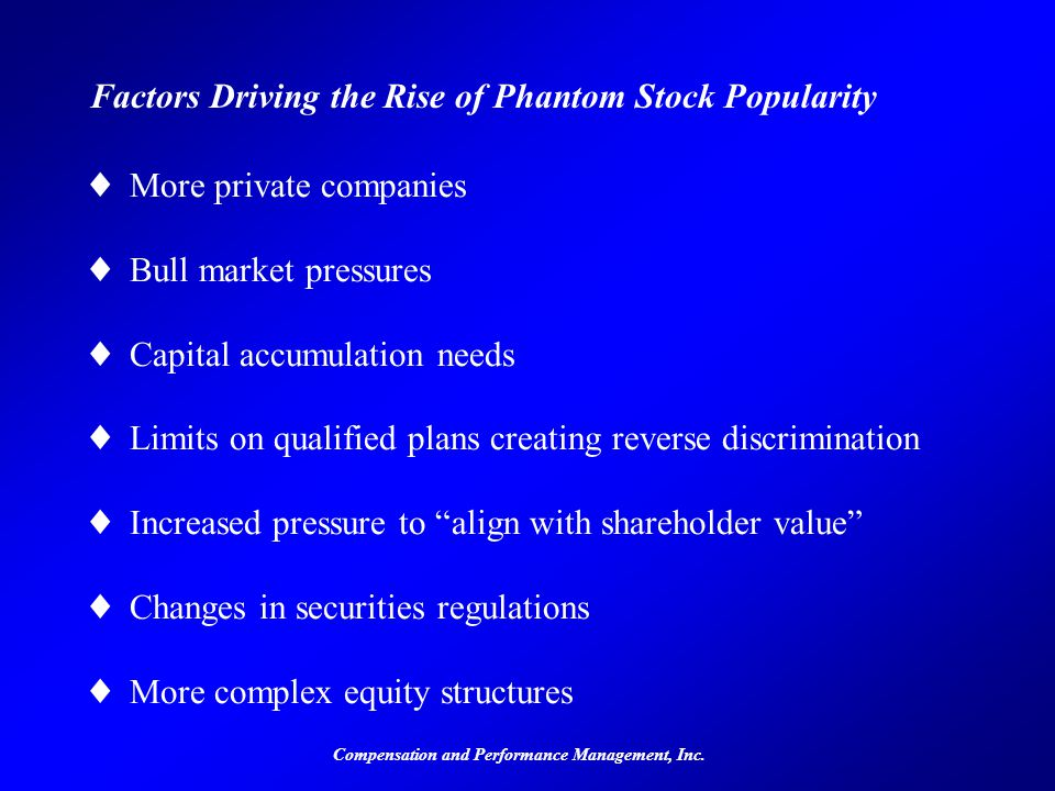 Compensation and Performance Management, Inc. Factors Driving the Rise of Phantom Stock Popularity ©More private companies ©Bull market pressures ©Cap