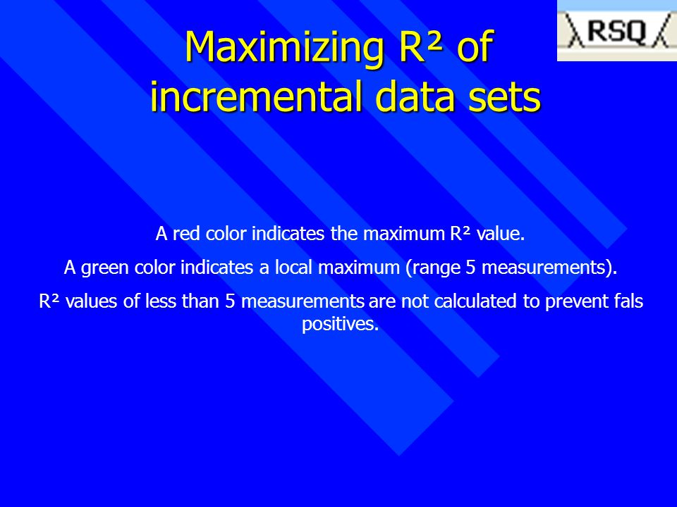 Maximizing R² of incremental data sets A red color indicates the maximum R² value.
