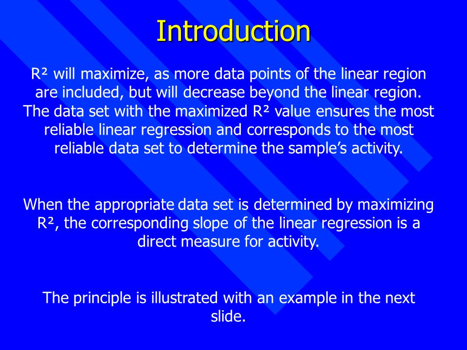 Introduction R² will maximize, as more data points of the linear region are included, but will decrease beyond the linear region.