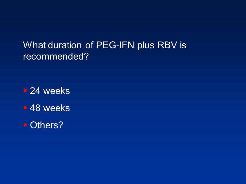 What duration of PEG-IFN plus RBV is recommended  24 weeks  48 weeks  Others