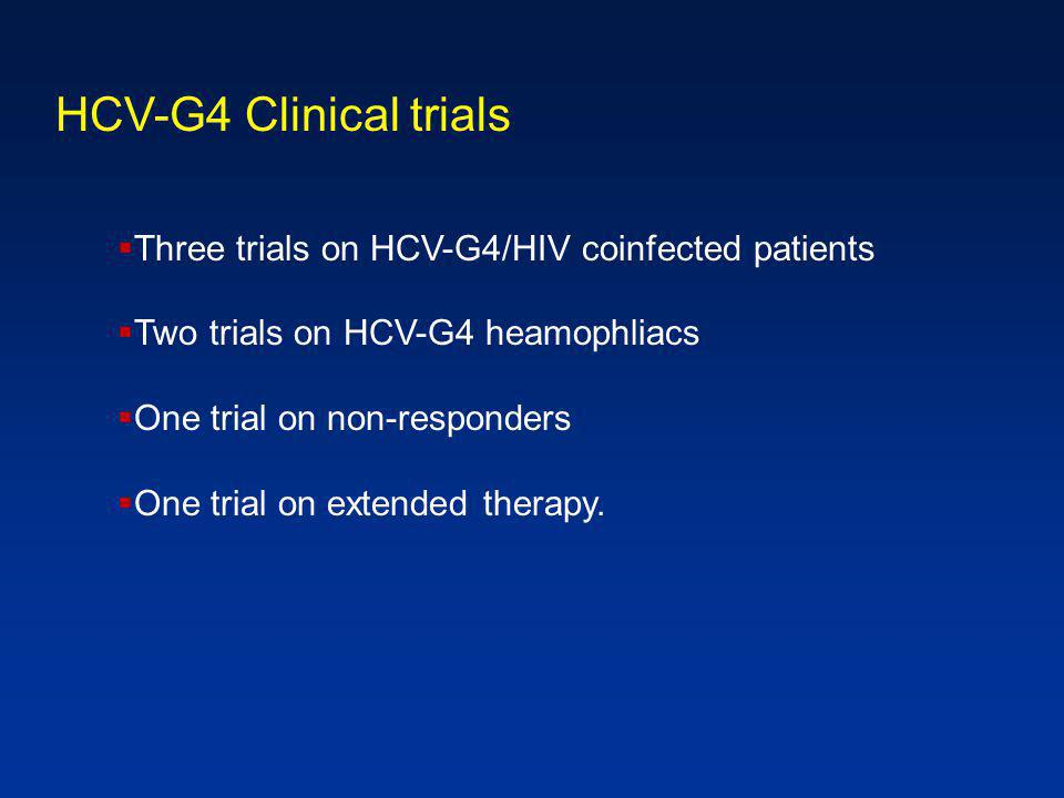  Three trials on HCV-G4/HIV coinfected patients  Two trials on HCV-G4 heamophliacs  One trial on non-responders  One trial on extended therapy.