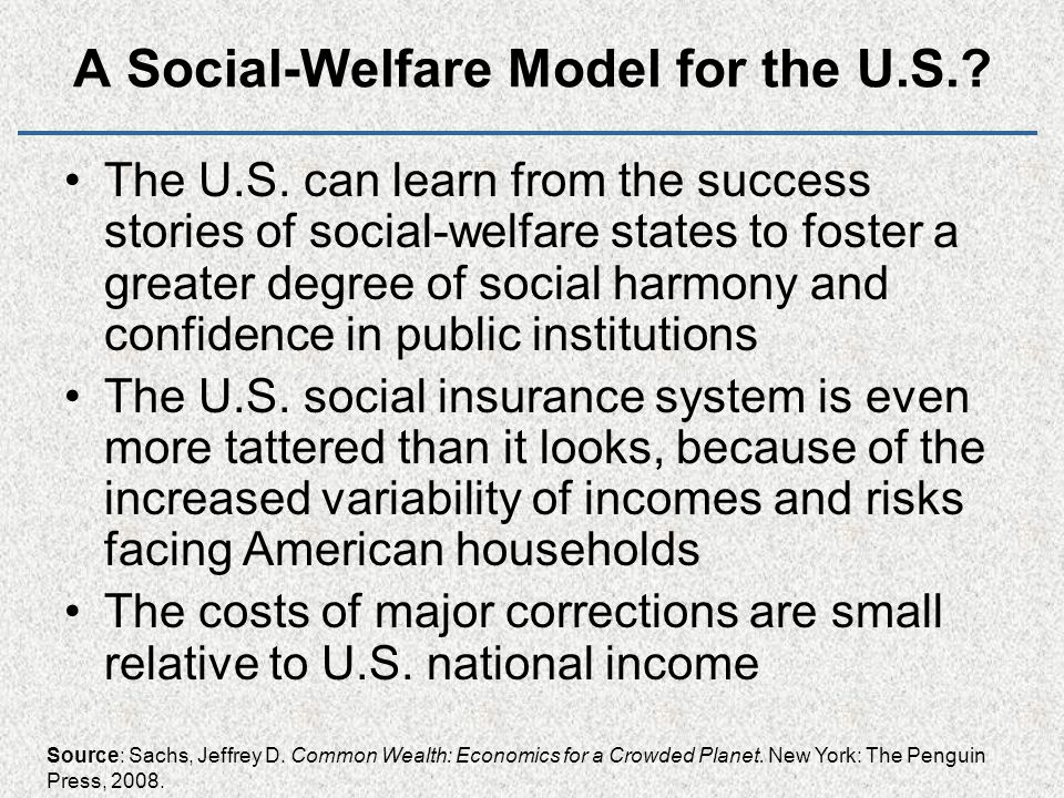 A Social-Welfare Model for the U.S.. The U.S.