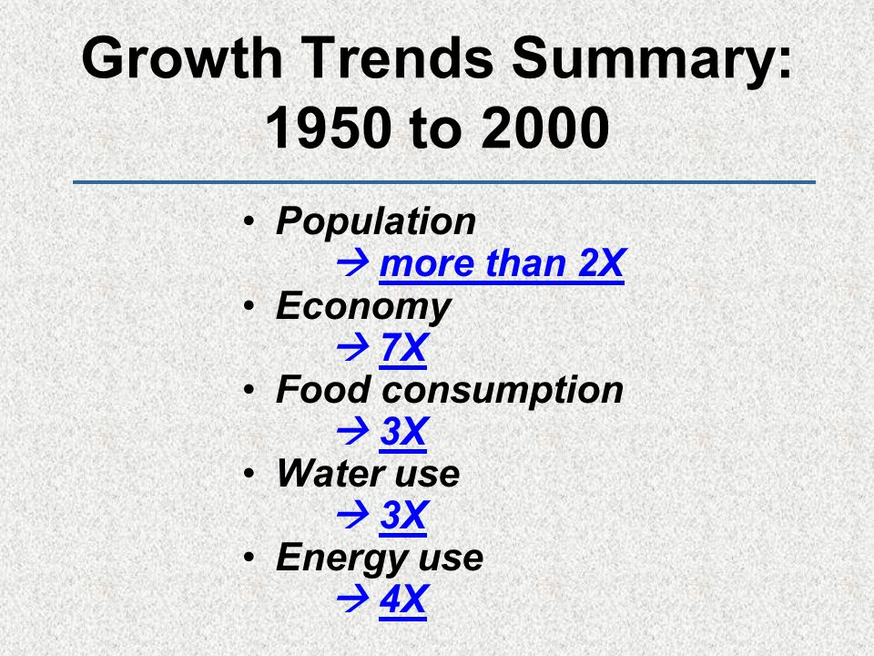 Growth Trends Summary: 1950 to 2000 Population  more than 2X Economy  7X Food consumption  3X Water use  3X Energy use  4X