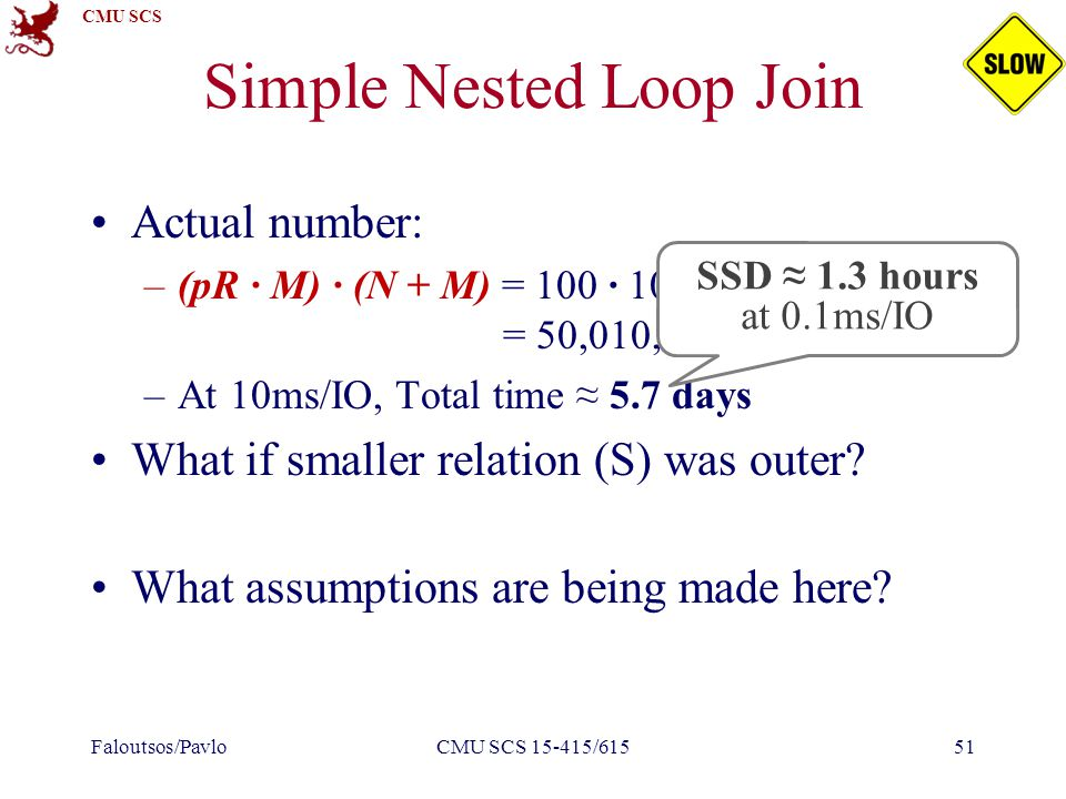 CMU SCS Simple Nested Loop Join Actual number: –(pR ∙ M) ∙ (N + M) = 100 ∙ 1000 ∙ 500 + 1000 = 50,010,000 I/Os –At 10ms/IO, Total time ≈ 5.7 days What if smaller relation (S) was outer.
