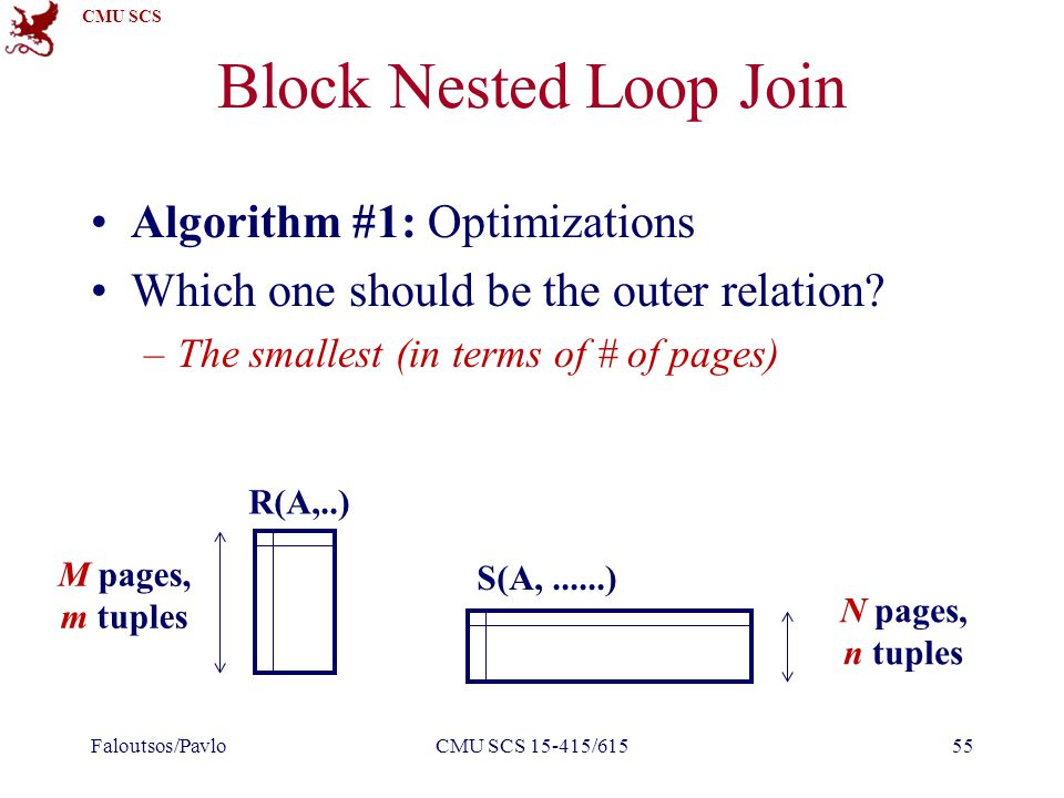 CMU SCS Block Nested Loop Join Algorithm #1: Optimizations Which one should be the outer relation.