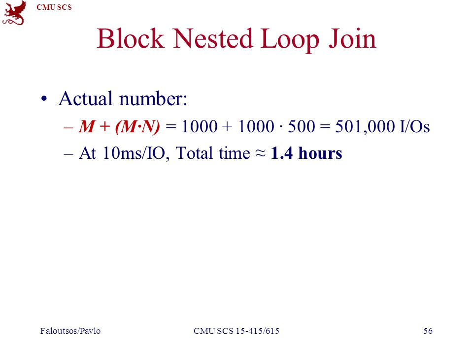 CMU SCS Block Nested Loop Join Actual number: –M + (M∙N) = 1000 + 1000 ∙ 500 = 501,000 I/Os –At 10ms/IO, Total time ≈ 1.4 hours Faloutsos/PavloCMU SCS 15-415/61556