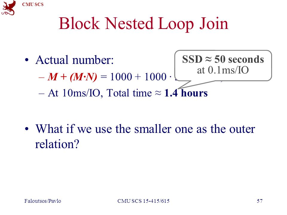 CMU SCS Block Nested Loop Join Actual number: –M + (M∙N) = 1000 + 1000 ∙ 500 = 501,000 I/Os –At 10ms/IO, Total time ≈ 1.4 hours What if we use the smaller one as the outer relation.