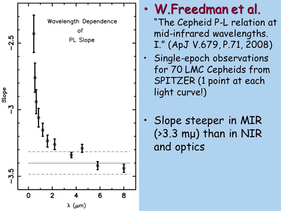 W.Freedman et al.W.Freedman et al. The Cepheid P-L relation at mid- infrared wavelengths.