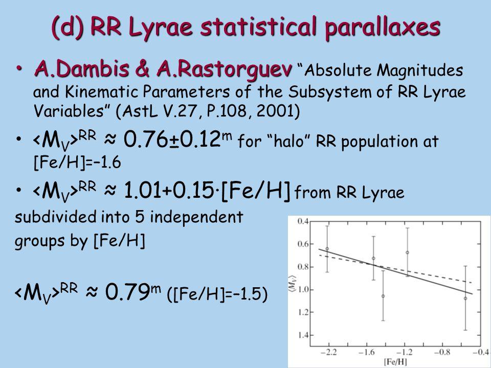 Notes to (d): Statistical parallax technique seem to underestimate RR Lyrae luminosity (and the distance scale) C.CacciariC.Cacciari et al.