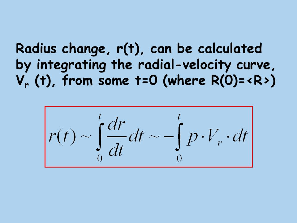 Example:TT Aql radial velocity curve (upper panel) and radius change (bottom panel) Example: TT Aql radial velocity curve (upper panel) and radius change (bottom panel) ΔR, Solar units Vr, km/s Pulsation phase
