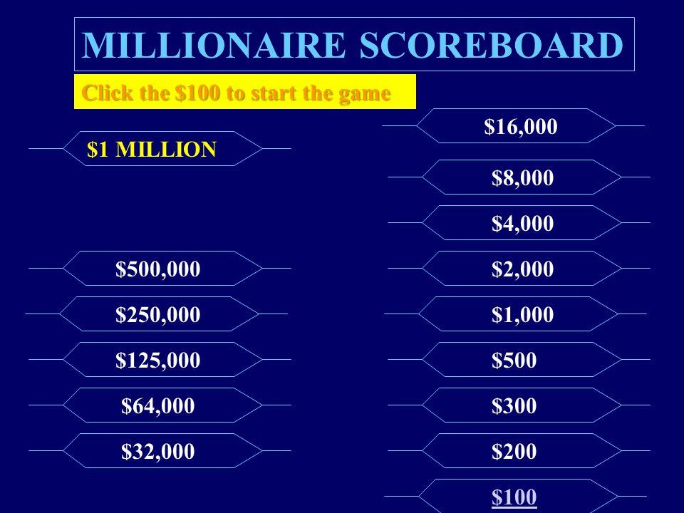 MILLIONAIRE SCOREBOARD $100 $200 $300 $500 $1,000 $2,000 $4,000 $8,000 $16,000 $32,000 $64,000 $125,000 $250,000 $500,000 $1 MILLION Click the $100 to start the game
