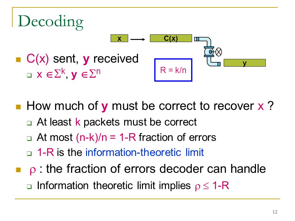 12 Decoding C(x) sent, y received  x   k, y   n How much of y must be correct to recover x .