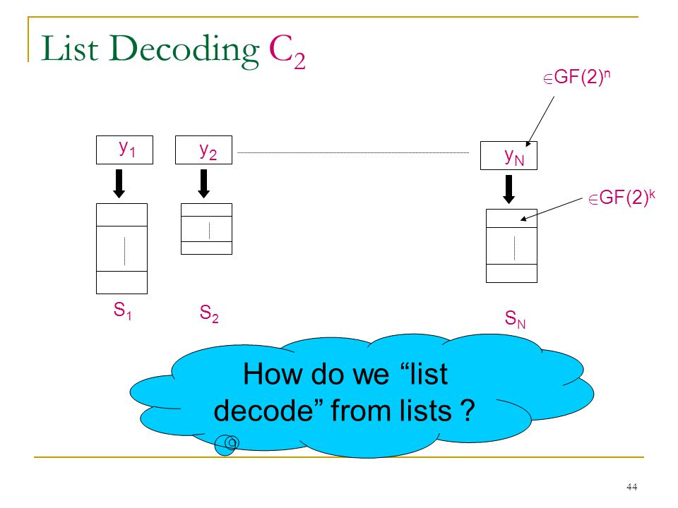 44 List Decoding C 2 y1y1 y2y2 yNyN How do we list decode from lists .