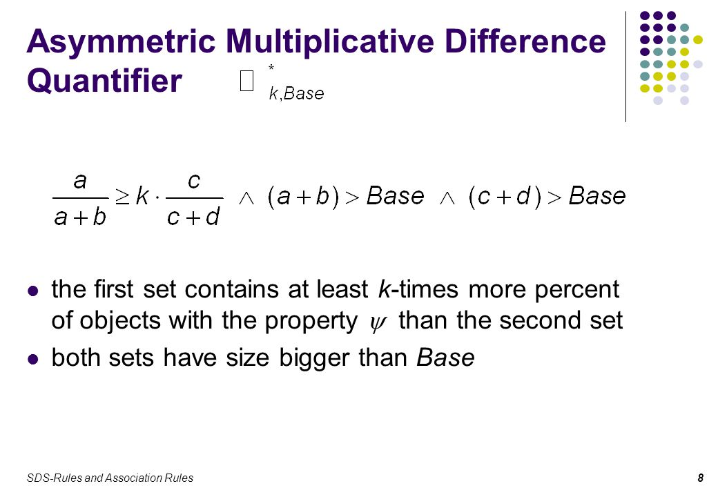 SDS-Rules and Association Rules8 Asymmetric Multiplicative Difference Quantifier the first set contains at least k-times more percent of objects with the property  than the second set both sets have size bigger than Base