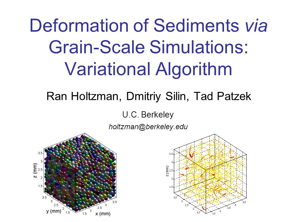 Deformation of Sediments via Grain-Scale Simulations: Variational Algorithm Ran Holtzman, Dmitriy Silin, Tad Patzek U.C.