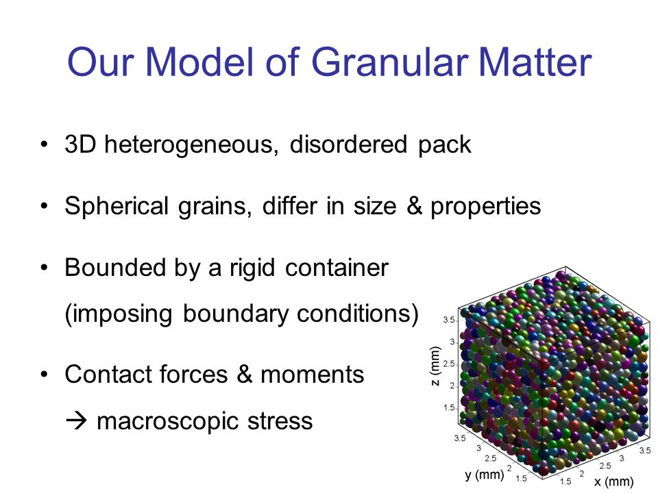 3 Our Model of Granular Matter 3D heterogeneous, disordered pack Spherical grains, differ in size & properties Bounded by a rigid container (imposing