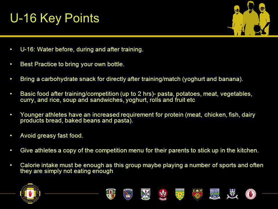 U-16 Key Points U-16: Water before, during and after training.