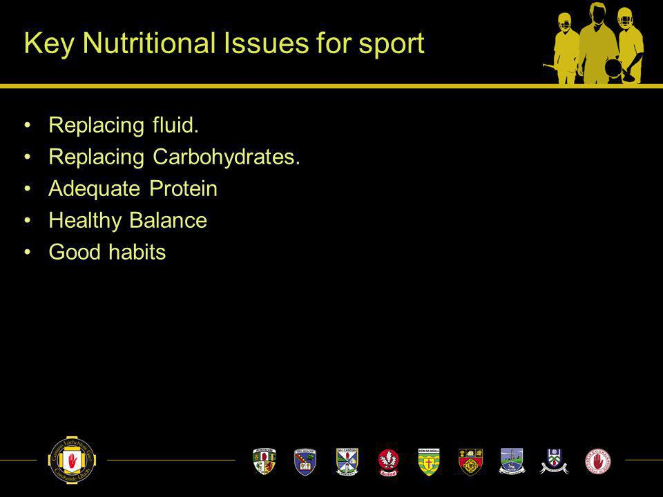 Key Nutritional Issues for sport Replacing fluid. Replacing Carbohydrates.