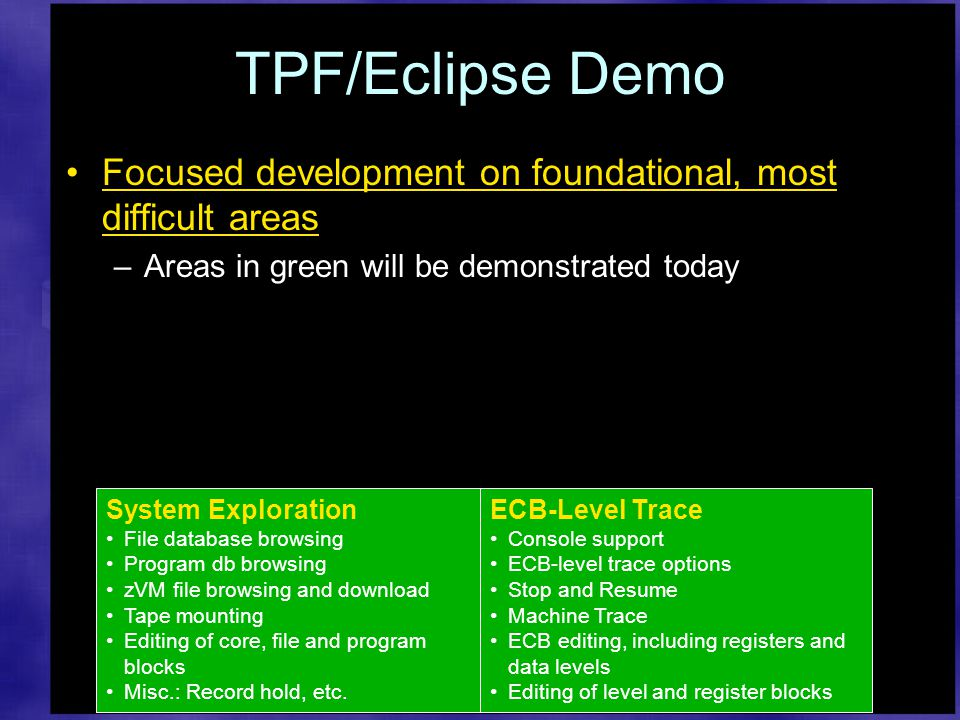 TPF/Eclipse Demo Focused development on foundational, most difficult areas –Areas in green will be demonstrated today ECB-Level Trace Console support ECB-level trace options Stop and Resume Machine Trace ECB editing, including registers and data levels Editing of level and register blocks System Exploration File database browsing Program db browsing zVM file browsing and download Tape mounting Editing of core, file and program blocks Misc.: Record hold, etc.