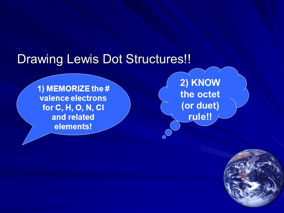 Drawing Lewis Dot Structures!! 1) MEMORIZE the # valence electrons for C, H, O, N, Cl and related elements! 2) KNOW the octet (or duet) rule!!