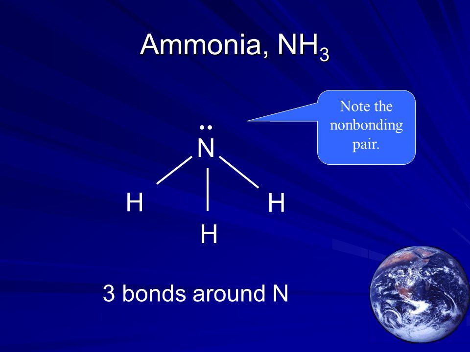 Ammonia, NH 3 H H H N 3 bonds around N Note the nonbonding pair.