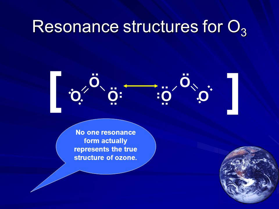 Resonance structures for O 3 OO O [ [ OO O.. No one resonance form actually represents the true structure of ozone.