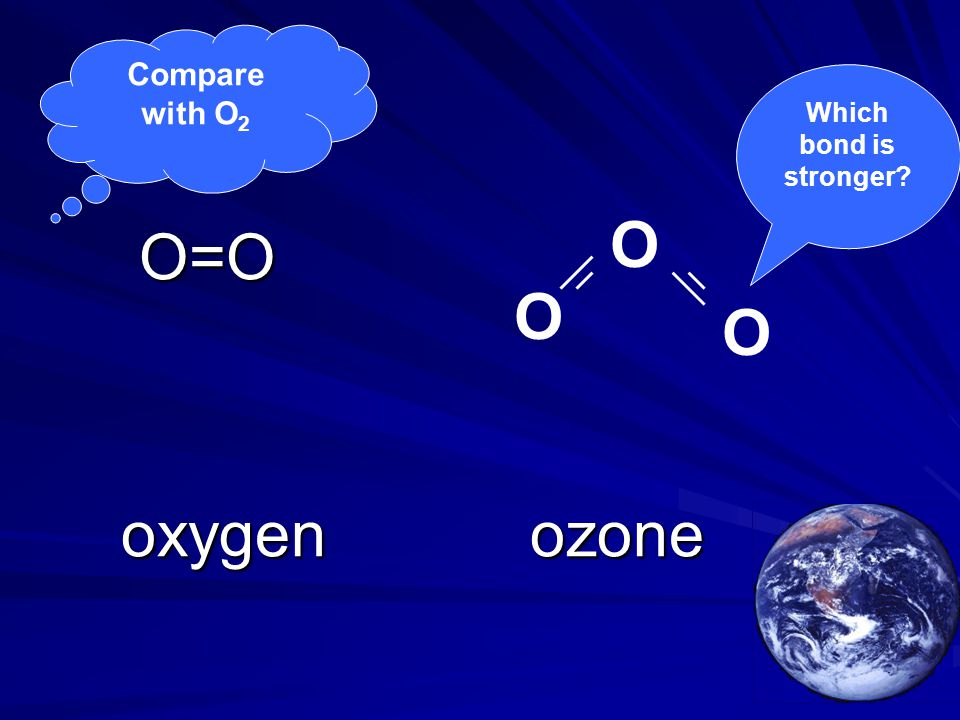 Compare with O 2 O=O O=O oxygenozone oxygenozone O O O Which bond is stronger?