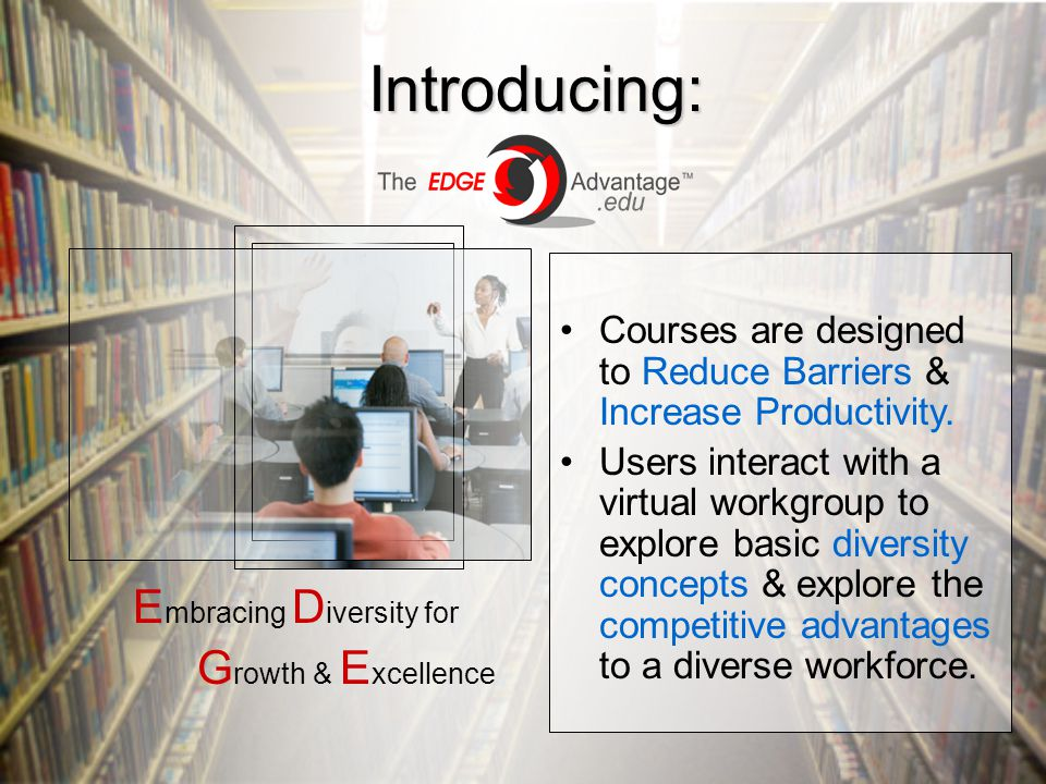 Courses are designed to Reduce Barriers & Increase Productivity. Users interact with a virtual workgroup to explore basic diversity concepts & explore