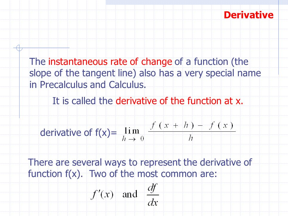 Derivative The instantaneous rate of change of a function (the slope of the tangent line) also has a very special name in Precalculus and Calculus. Th
