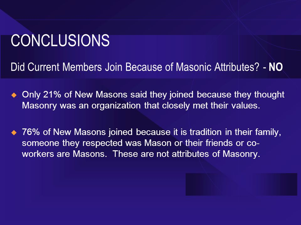CONCLUSIONS Did Current Members Join Because of Masonic Attributes.