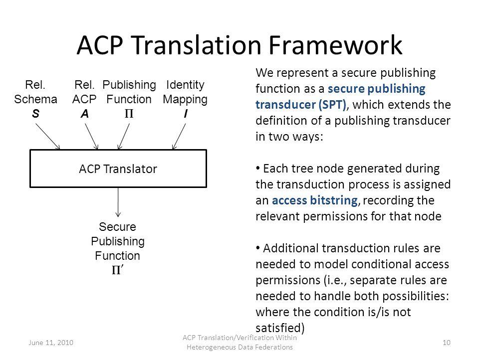 ACP Translation Framework June 11, 2010 ACP Translation/Verification Within Heterogeneous Data Federations 10 ACP Translator Rel.