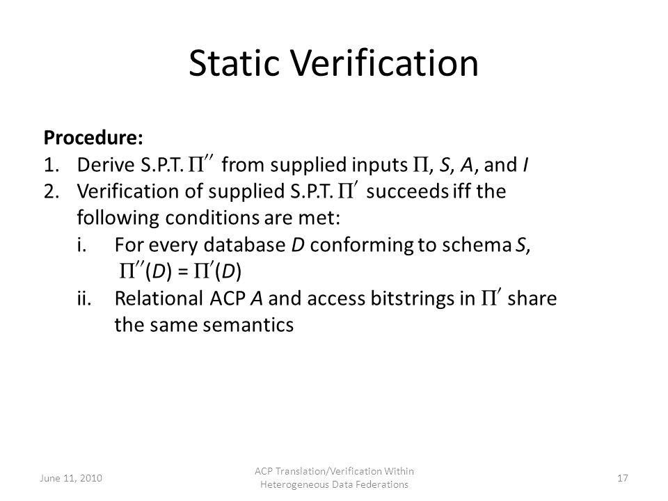 Static Verification June 11, 2010 ACP Translation/Verification Within Heterogeneous Data Federations 17 Procedure: 1.Derive S.P.T.