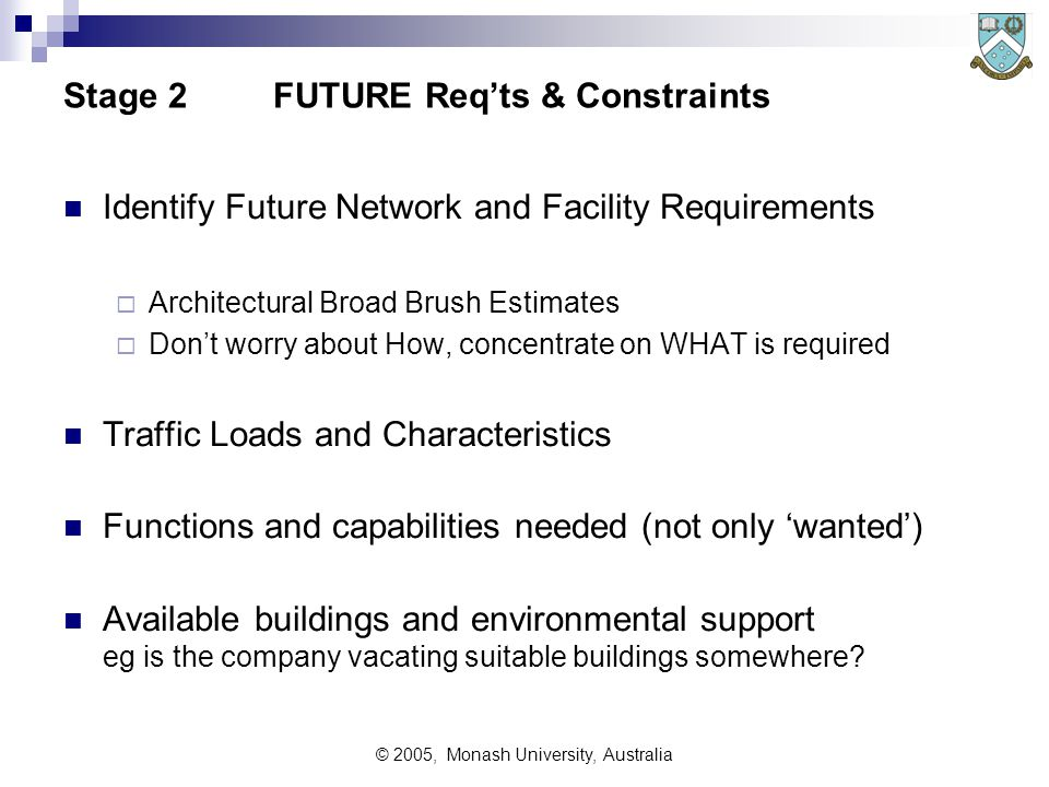 © 2005, Monash University, Australia Stage 1Analyse EXISTING Networks Traffic Loads and Capacity Reliability and functionality Residual working life of  current systems,  facilities (buildings and power supplies etc),  communications and support equipment Consider existing contracts for  systems,  equipment,  facilities,  provision of services such as telecommunications services,  facilities management, etc