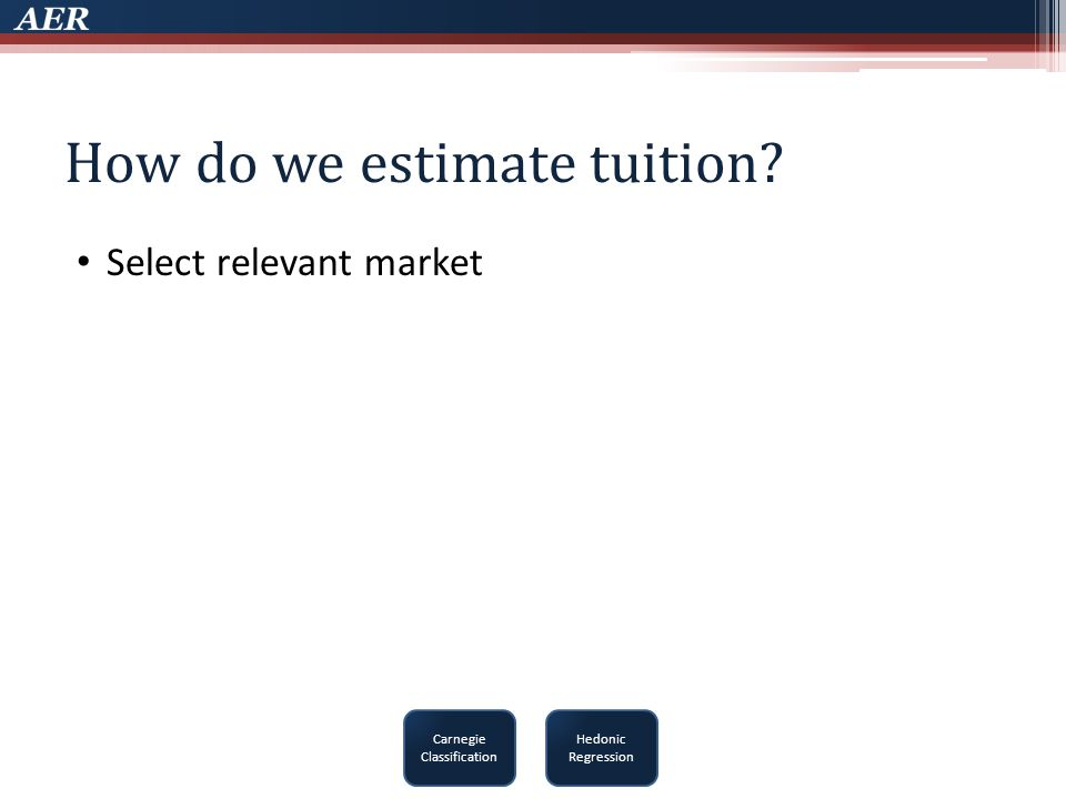 How do we estimate tuition Select relevant market Carnegie Classification Hedonic Regression