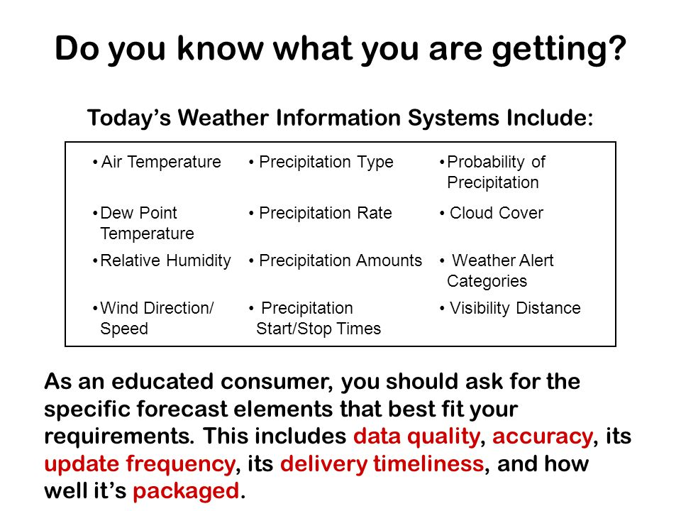 Today's Weather Information Systems Include: Air Temperature Precipitation TypeProbability of Precipitation Dew Point Temperature Precipitation Rate Cloud Cover Relative Humidity Precipitation Amounts Weather Alert Categories Wind Direction/ Speed Precipitation Start/Stop Times Visibility Distance Do you know what you are getting.