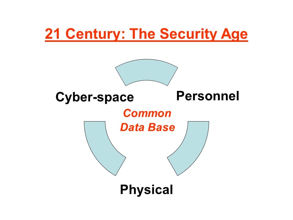 21 Century: The Security Age Personnel Physical Cyber-space Common Data Base