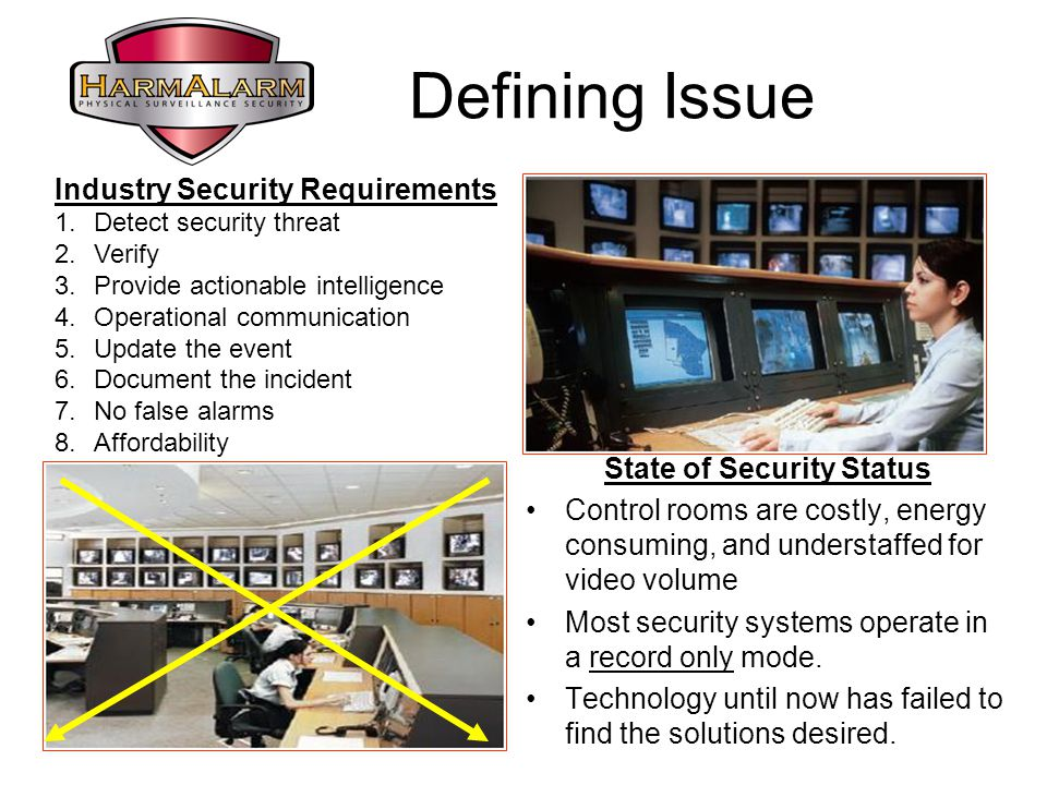 Defining Issue State of Security Status Control rooms are costly, energy consuming, and understaffed for video volume Most security systems operate in a record only mode.