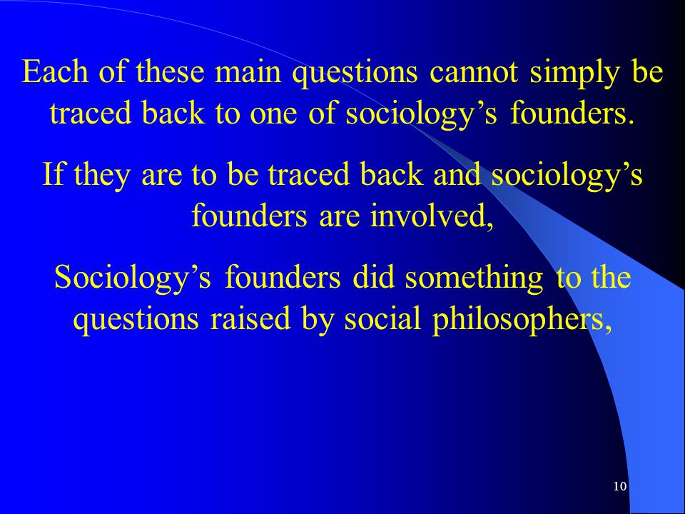 10 Each of these main questions cannot simply be traced back to one of sociology's founders.