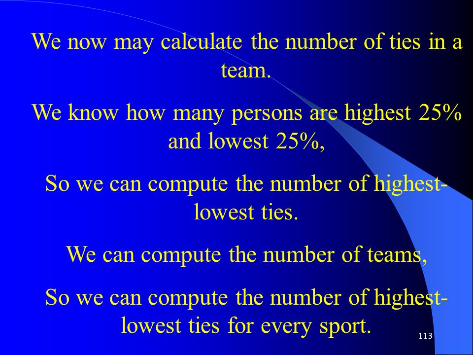 113 We now may calculate the number of ties in a team.