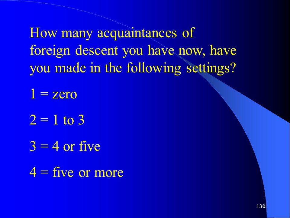 130 How many acquaintances of foreign descent you have now, have you made in the following settings.