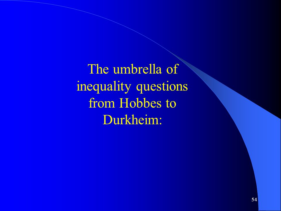 54 The umbrella of inequality questions from Hobbes to Durkheim: